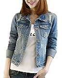 Classic Pink Damen Jeansjacke Übergangsjacke Leichte Jacke Denim Casual Boyfriend Sakko Mit Knöpfen Jacken Einfarbig Blau M
