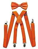 axy Herren Hosenträger mit Fliege - 4 Starken Clips X-Form (Orange (Hosenträger Breit 2,5cm))