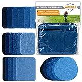 Wheeloo 24-teilig Flicken Patches zum aufbügeln in 5 Farben | GRATIS Geschenk | Denim Jeans | Schwarz & Blau | 4 Größen | Hosen & Jacken | Bügelflicken Set | Dekoration & Reparieren