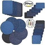 Patches zum aufbügeln, Genux Jeans Flicken zum aufbügeln 24 Stück 4 Farben Patch Sticker für Jeans Kleidung, 4 Größen +1 Stück Nähzeug ((24pcs))