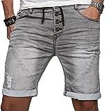 Sublevel Herren Jogg Jeans Shorts kurze Hose Bermuda Sommer Short Sweathose Slim B112 [Grau - W32]