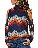 YOINS Sexy Schulterfrei Oberteil Damen Shirt Off Shoulder Top Pullover Damen Rollkragen Langarm Gestreift Pulli Lose Tshirt Hemd Marineblau EU36-38