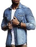LEIF NELSON Herren Biker Hemden Männer Overshirt Freizeithemden Denim Jeans Jacke Weste Destroyed Verwaschen Vintage Gesteppt Langarm Kurzarm LN3375; Größe L, Blau