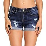 Hocaies Damen Jeansshorts Basic in Aged-Waschung Jeans Bermuda-Shorts Kurze Hosen aus Denim für den Damen Sommer High Waist Denim Kurze Hose mit Quaste Ripped Loch Hotpants Shorts (40, 03 Hell blau)