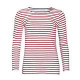 SOLS Damen Marine T-Shirt, gestreift, langärmlig (M) (Weiß/Rot)