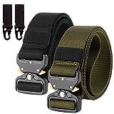 2er Unisex Gürtel Nylon Canvas Belt, Schnellverschluss Military Style Shooters Nylon Gürtel mit Metallschnalle, Armee-Grün + Schwarz, Einheitsgröße