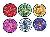 HC Enterprise Lot de 6sous-verres brodés ethniques 6couleurs différentes