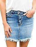 Roskiki Lässiger Damen Jeansrock mit Taschenabsatz Hellblau Größe XL