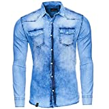 Reslad Jeanshemd Männer Slim Fit Vintage Herren Denim-Hemd Waschung Blau | Freizeithemd Blaue Denim Hemden RS-7109 Blau L