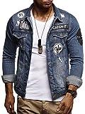 LEIF NELSON Herren Jeans-Jacke mit Knopf | Casual Freizeitjacke Slim Fit | Männer-Übergangsjacke Stretch Langarm | Das Beste in Kleidung Männer LN9540; Größe S, Blau