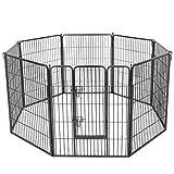 feandrea Welpenauslauf Welpenfreigehege Hundegehege Laufstall Zaun Gitter Welpen Hasen Kaninchen 8-Eck Grau 80 x 100 cm PPK81G