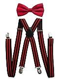 axy Herren Hosenträger mit Fliege - 4 Starken Clips X-Form (Schwarz-Rot Streifen (Hosenträger Breit 2,5cm)+Rote Fliege)