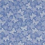 Fabulous Fabrics Jeansstoff Chambray Schmetterlinge Stick Optik – Jeansblau — Meterware ab 0,5m — zum Nähen von Blusen, Hemden und Kleider