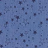 Fabulous Fabrics Jeansstoff Chambray Sterne – Jeansblau — Meterware ab 0,5m — zum Nähen von Blusen, Hemden und Kleider