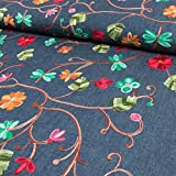 Stoffe Werning Jeansstoff bestickte Blumenranke - Preis gilt für 0,5 Meter -