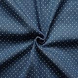 Stretch Denim Jeans Stoff Punkte klein Meterware Jeans-Blau