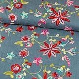 Jeansstoff Stickerei Blumen Modestoffe - Preis gilt für 0,5 Meter -