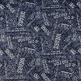 SCHÖNER LEBEN. Bekleidungsstoff Jeansstoff Glitzer Sterne Schrift Jeansblau beige schwarz 1,4m Breite