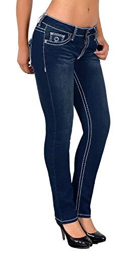 ESRA Damen Jeans Hose Straight Leg Damen...
