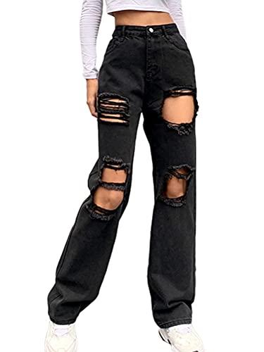 ORANDESIGNE Damen Stretch Straight Jeans...
