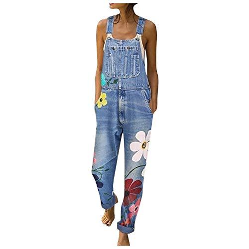 Damen Jeanshose Slim Fit Blau Latzhosen...