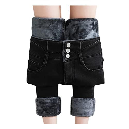 Winter-Jeans Damen-Gefüttert High-Waist...