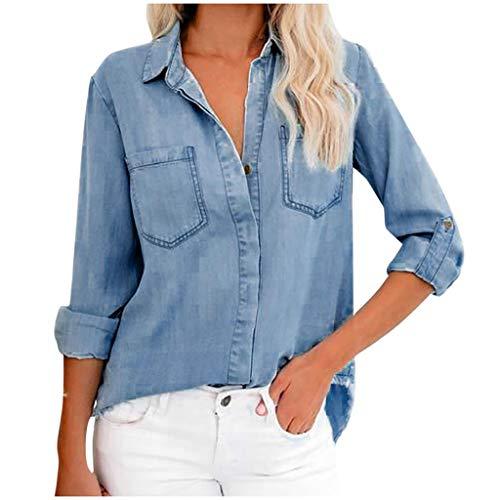C Langarm Damen Jeans Bluse Hemdbluse...