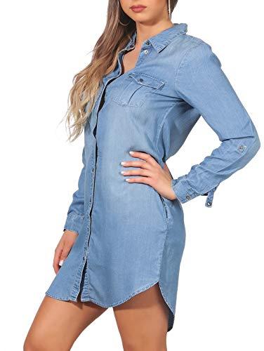 VERO MODA Damen Jeans Blusen-Kleid Silla...