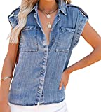 ORANDESIGNE Damen Bluse Jeanshemd Kurzarm Jeansbluse V-Ausschnitt Lose Casual Denim Langarm Shirt Sommer Blau Jean Bluse Oberteile Top Z2 Blau L