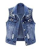 CYSTYLE Damen Jeansweste BF Perlen Jacke Ärmellos Einfache Beiläufige Jeansweste Denim Weste mit Loch Design (Blau, L)