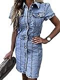 ORANDESIGNE Damen Sommer Jeanskleid Beiläufige Ausschnitt Jeanskleid Elegant Bodycon V-Ausschnitt Knopf Knielang Denim Blusekleid A01 M