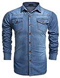 Burlady Jeanshemden Herren Langarm Denim Hemden Freizeit Shirts Regular Fit Hemden (XXL, A-Skyblau)