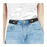 JasGood Schnallenfreier Elastischer Gürtel Ohne Schnalle für Damen, Damen Schnallenloser Unsichtbare Gürtel für Jeans Hose bis zu 120cm, Schwarz