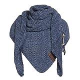 Knit Factory - Dreiecksschal Coco - Damen Strickschal mit Wolle - Hochwertige Qualität - XXL Schal - 190 x 85 cm - Jeans/Indigo