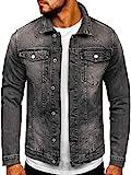BOLF Herren Übergangsjacke Jeansjacke Sportjacke Freizeitjacke Reißverschluss Street Style M.SARA AK586 Schwarz 4XL [4D4]