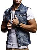 Leif Nelson Herren Jeansweste Jeans Weste Basic Stretch Destroyed Vintage Denim Stehkragen Jeansjacke Hoodie Freizeitjacke Kapuzenpullover Pullover T-Shirt Slim Fit LN9300; Größe M, Dunkel Blau