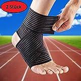 AGIA TEX 2er Set Sprunggelenk-Bandage | Fuss-Bandage | Stützbandage Fußgelenk Knöchel Fußknöchel-Bandage Sport (77cm, Schwarz)