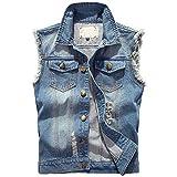 YOUTHUP Herren Jeans Denim Weste Fashion Jeans Casual Herren Freizeit Weste