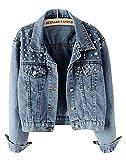 CYSTYLE Damen Jeansjacke Übergangsjacke Leichte Jacke Denim Casual mit Perle (EU M=Asia XL)