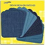 ZEFFFKA Hochwertige Qualität Jean-Flicken zum Aufbügeln für Innen und Außen Stärkster Kleber 100% Baumwolle Verschiedene Blautöne Reparatur-Dekorationsset 12 Stück Größe 3' x 4-1/4' (7,5 cm x 10,5 cm)