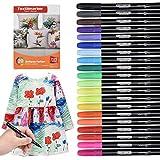 Waschmaschinenfeste Textilmarker, 20 Wasserfeste Textilstifte in Leuchtenden Farben, Nicht Giftige Permanent Marker, Stoffmalfarben für Schuhe T-Shirts Taschen Stoffbeutel und Verschiedene Textilien