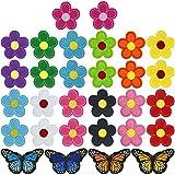 30 Stück Blumen Schmetterlinge Bügelflicken, Stickerei Nähen Iron on Flicken, Eisen auf Applikationen Patches Sticker, Reparatur Dekorative Aufnäher zum Aufbügeln für Kleidung Jean Jacken Tasche