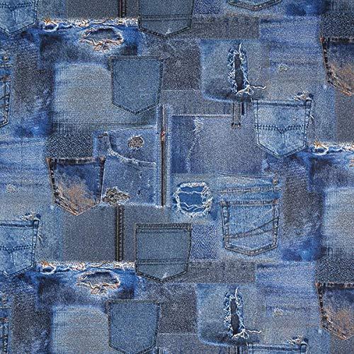Dekostoff Ottoman Jeans – blau —...